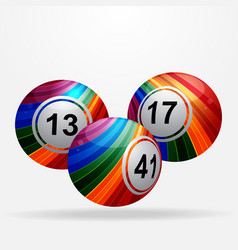 Striped bingo lottery balls on white background vector