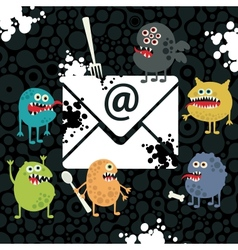 Virus monsters in the email letter vector