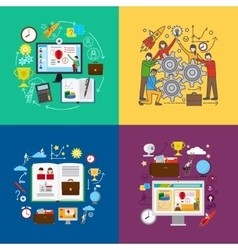 Web education and team learning concepts vector image