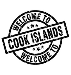 welcome to cook islands black stamp vector image vector image