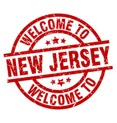 Welcome to new jersey red stamp vector