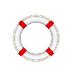 White life buoy with rope around vector