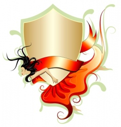 woman with shield and banner vector image vector image