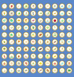100 summer holidays icons set cartoon vector