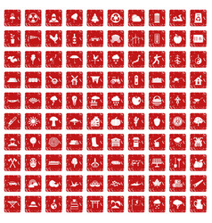 100 tree icons set grunge red vector