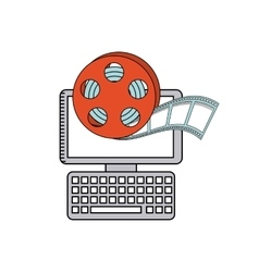 Cinema online with computer desktop vector
