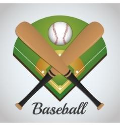 Ball league and bat of baseball sport design vector image