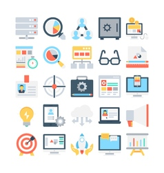Digital marketing colored icons 5 vector