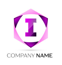 letter i symbol in the colorful hexagonal vector image