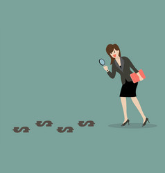 detective business woman finding money vector image