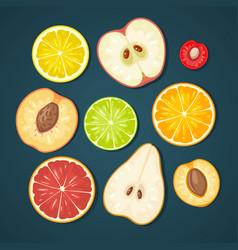 Set fruits color flat vector
