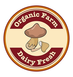 A round organic farm and dairy fresh logo with a vector