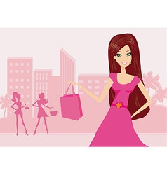 happy fashion girl on Shopping in the city vector image
