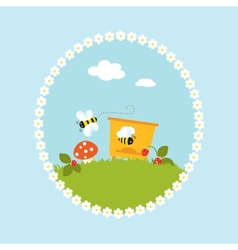 Cartoon flowers beehive fruits garden art vector