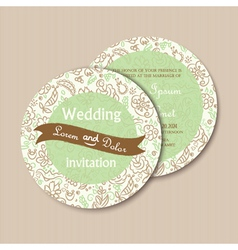 round invitation green vector image