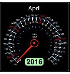 2016 year calendar speedometer car april vector
