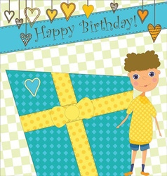 Birthday greeting with boy and gift vector