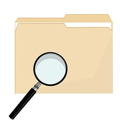 File folder and magnifier vector image