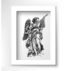 Sketch digital drawing of marble statue angels vector