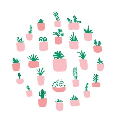Potted plants arranged in circle vector