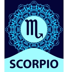 Scorpio scorpion zodiac icon with mandala print vector