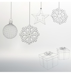 Christmas decoration and gift box vector