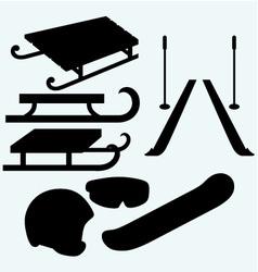 Set equipment for snowboarding vector image