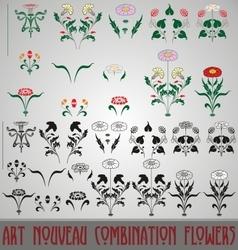 Art nouveau combination flowers vector