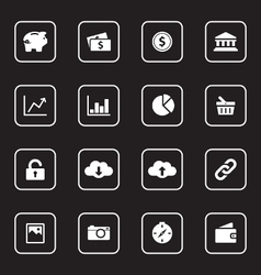 white flat icon set 4 with rounded rectangle frame vector image