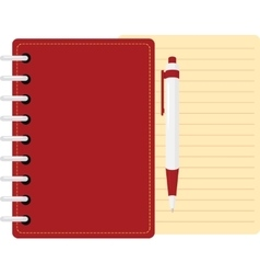 Red diary personal organizer with pen and sheet vector