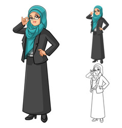 Muslim businesswoman wearing green tosca veil vector