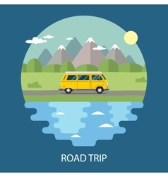 Road trip flat design vector