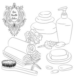 Accessories for bath line art vector