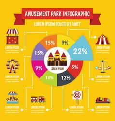 Amusement park infographic concept flat style vector