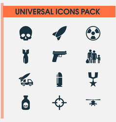 Battle icons set collection of missile order vector