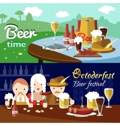 Beer flat banner set vector