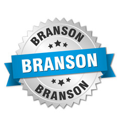 Branson round silver badge with blue ribbon vector
