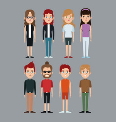 cartoon boy and girls caucasian community vector image