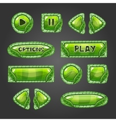 Cartoon green buttons with leaves vector