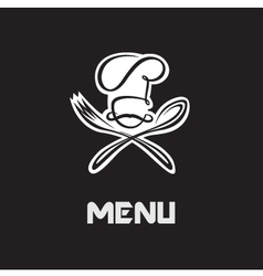 chef hat fork and spoon vector image