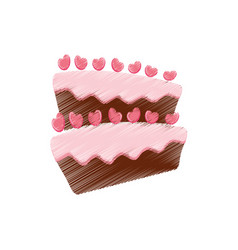 Drawing cake pastry heart sweet vector