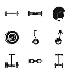 Electric scooter icon set simple style vector