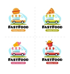 Fast food truck logo collection pizza vector