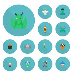 Flat icons avatar dinosaur huge man and other vector
