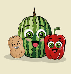 Fruits and vegetables comic character vector