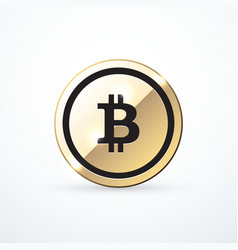 Gold bitcoin icon isolated vector