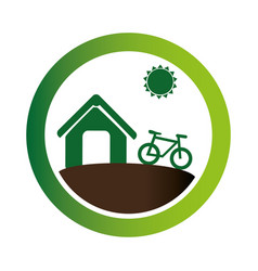 Green circular emblem with eco farm vector