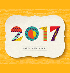 Happy new year 2017 color abstract greeting card vector