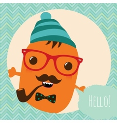 Hipster Retro Monster Card Design vector image vector image