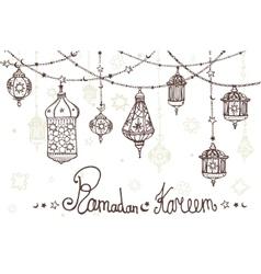 Lantern garland of Ramadan KareemDoodle greeting vector image vector image